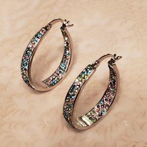 Sofia James Silver Plated Swarovski Hoop Earrings